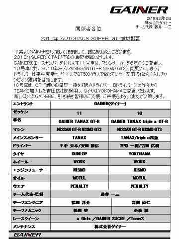 2018年GAINER体制発表!!